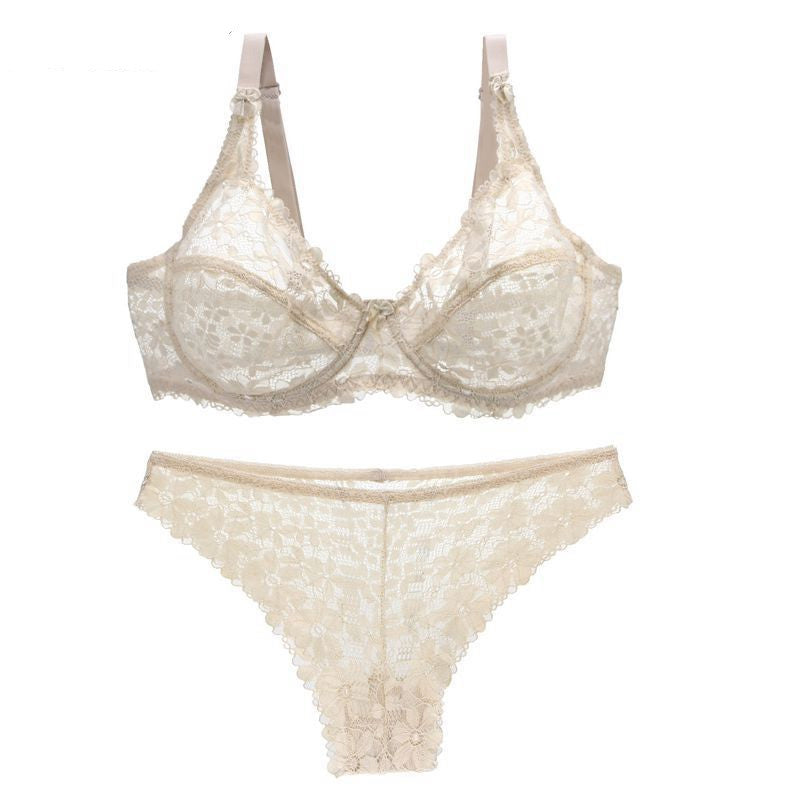 Plus Size Sexy Lace Detail Breathable Bra Set