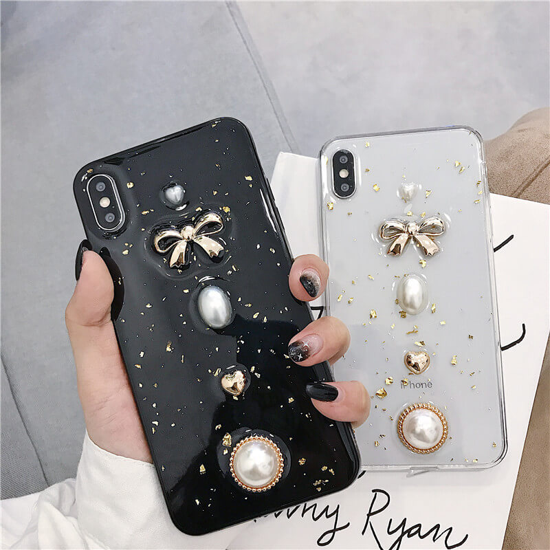Transparent Bowknot & Pearl Decorated iPhone Case