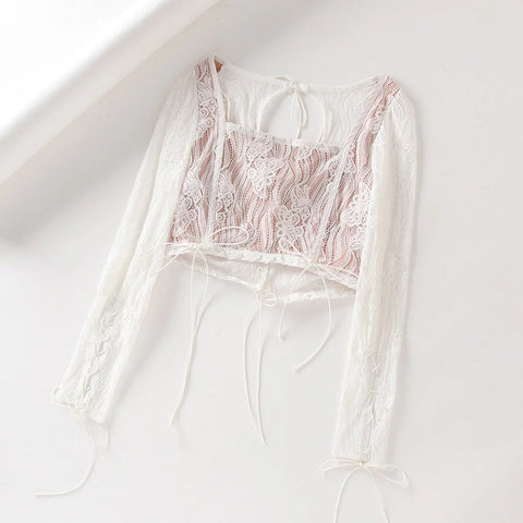 Lace Panel Square Collar Tie Self Cropped Shirt gallery 6