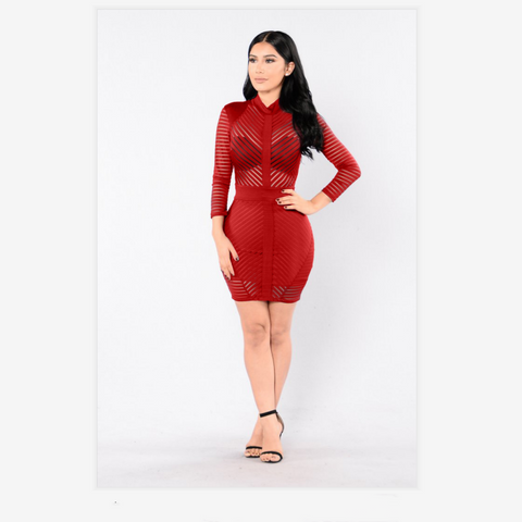 Red Stripe Detail Sheer Bodycon Dress