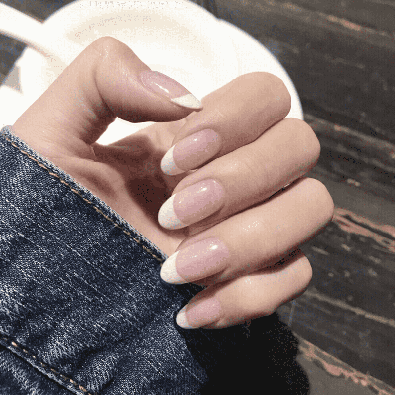 Natural French Short Magic Press On Nail Manicure