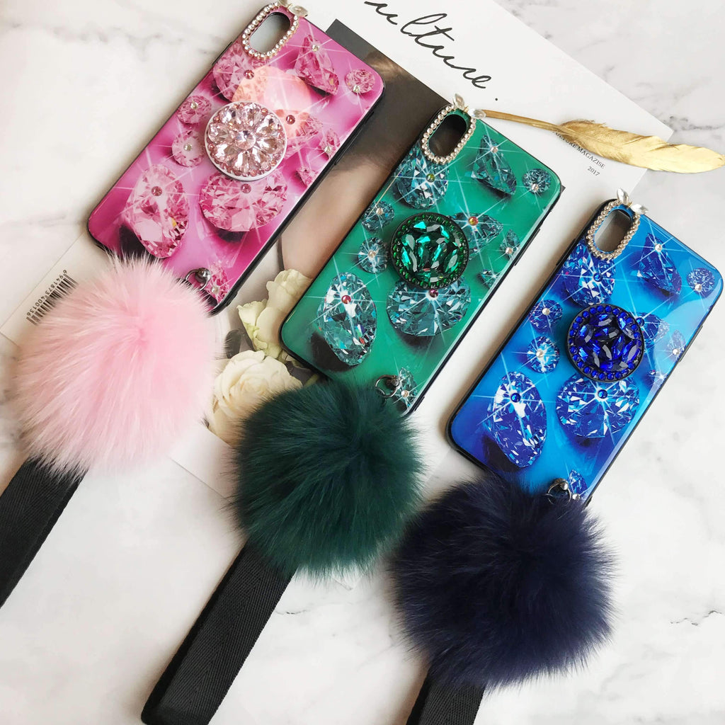Diamond iPhone Case with Phone Holder and Hair Ball