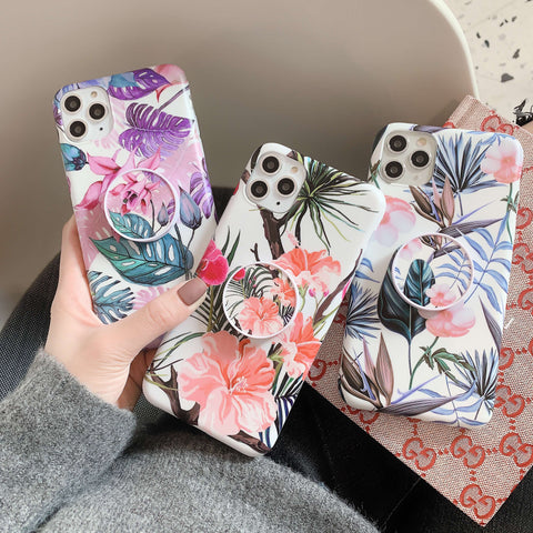Multi Retro Floral Print iPhone Case with Phone Holder