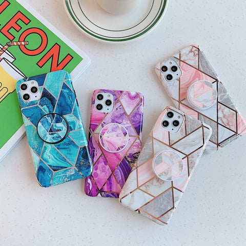 Rhombus Stitching Marble Phone Case for Samsung with Phone Holder gallery 11