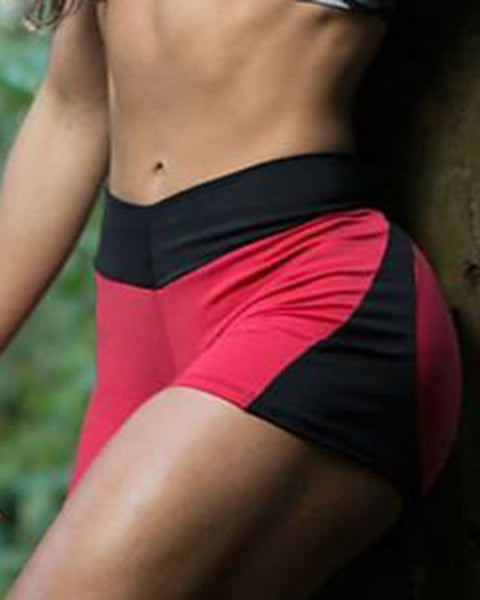 Colorblock & Letter Print Butt Lifting Sports Shorts gallery 3