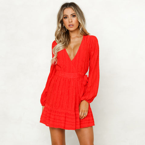 Solid Color Wrap Puff Sleeve Tied Waist Dress
