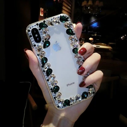 Glittering Rhinestone Side Clear Transparent Phone Case for Samsung gallery 13