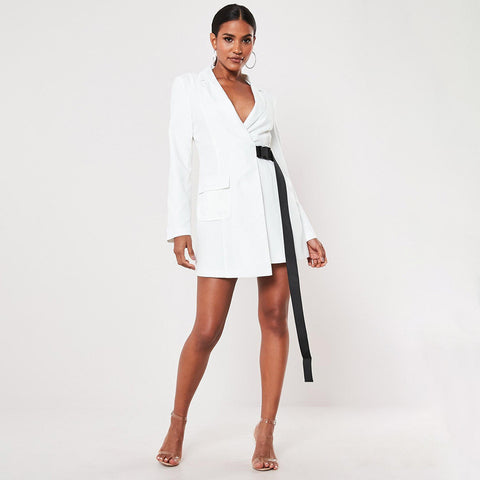 White Blazer Dress With Clip Belt