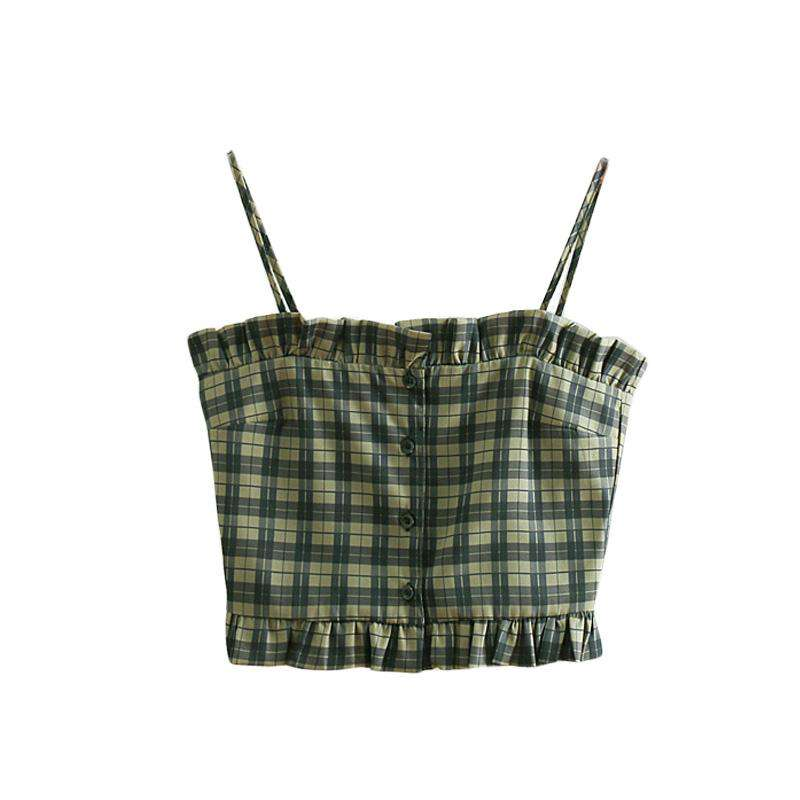 Green Latticed Elegant Ruched Side Cami Top