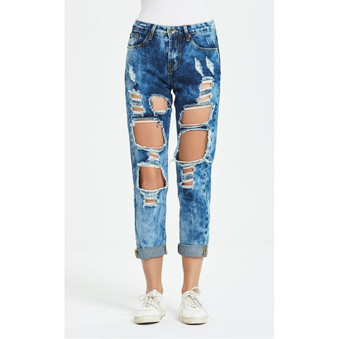 Slim Fit Ripped Straight-Leg Jeans
