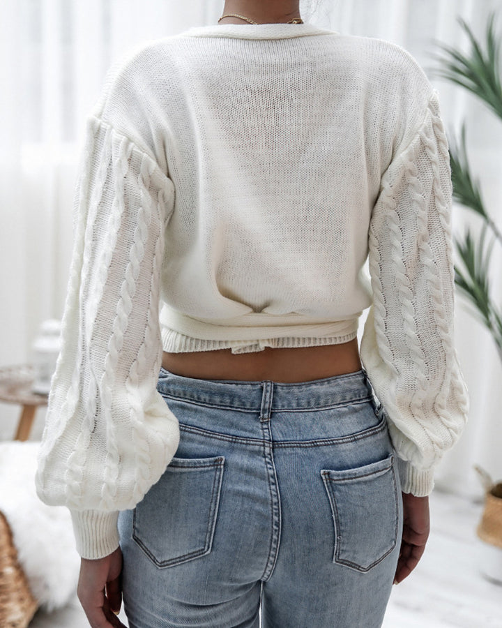 Solid Cable Knit Surplice Self-Tie Sweater gallery 3