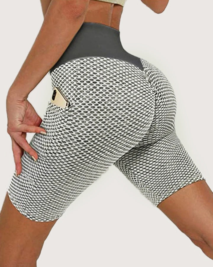 Solid Textured Butt Lift Pocket Detail Sports Shorts gallery 3