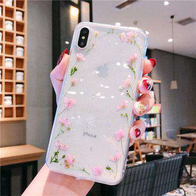 Literary Small True Flower Transparent iPhone Case