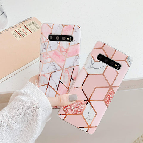 Electroplate Rhombus Marble Phone Case for Samsung gallery 1