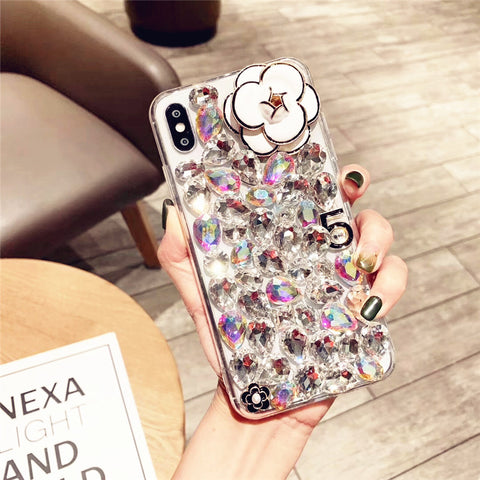 Camellia Full Rhinestone Cover Phone Case for Samsung gallery 8