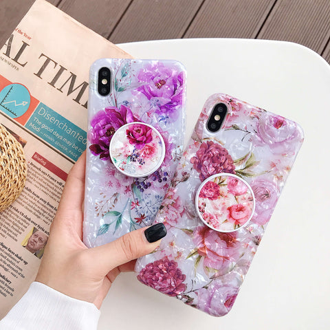 Shell Glittering Floral Print iPhone Case with Phone Holder