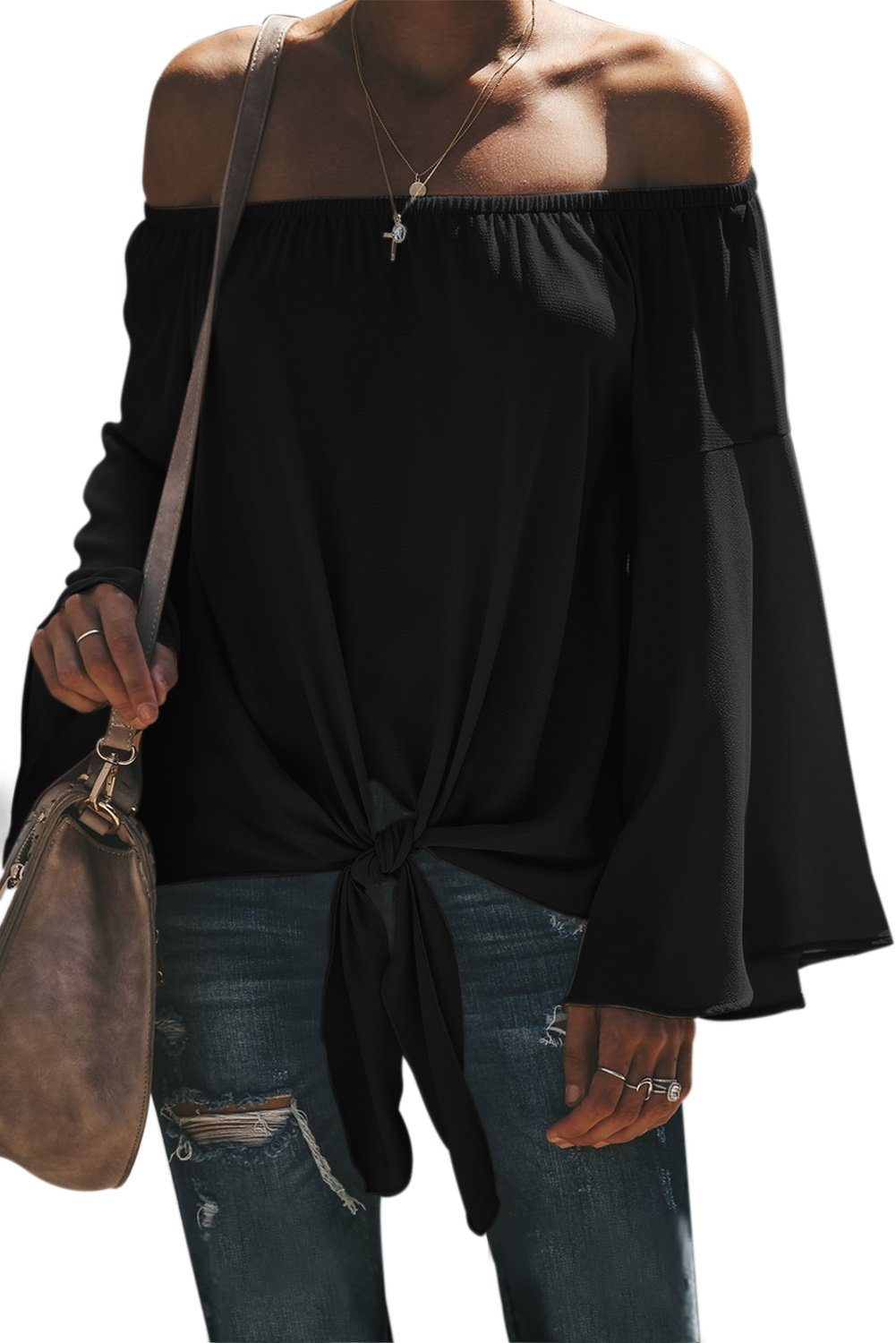 Black Off The Shoulder Bell Sleeve Tie Blouse