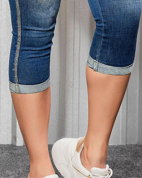 Ripped Roll Up Hem Capris Jeans gallery 11