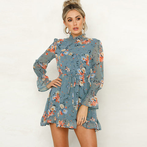 High Neck Floral Print Drawstring Waist Frill Dress