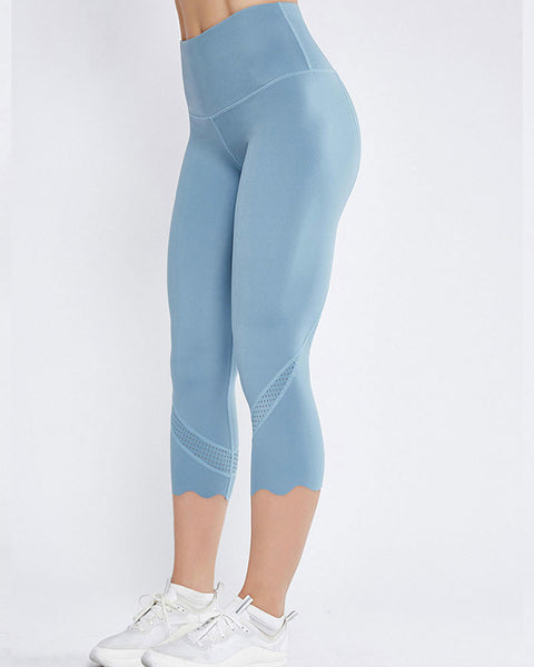 Hollow Out Scallop Detail Capris Sports Leggings gallery 7