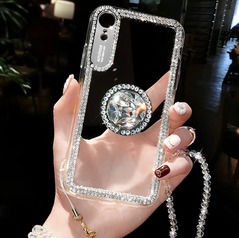 Luxury Crystal Stud Edge Phone Case for Samsung with Phone Holder and Hand Strap gallery 8