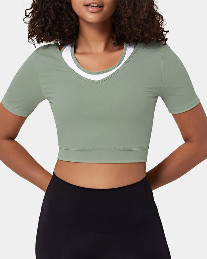 Colorblock Cut Out Bodycon Crop Sports Top gallery 9