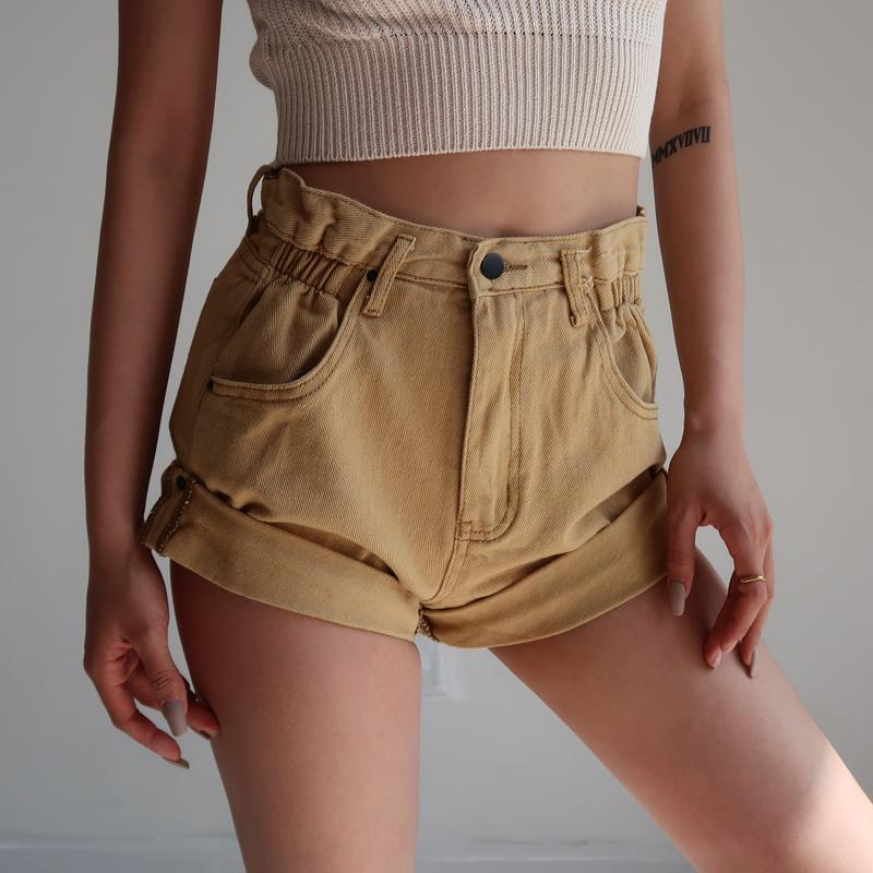 Elasticated High-waisted Denim Shorts