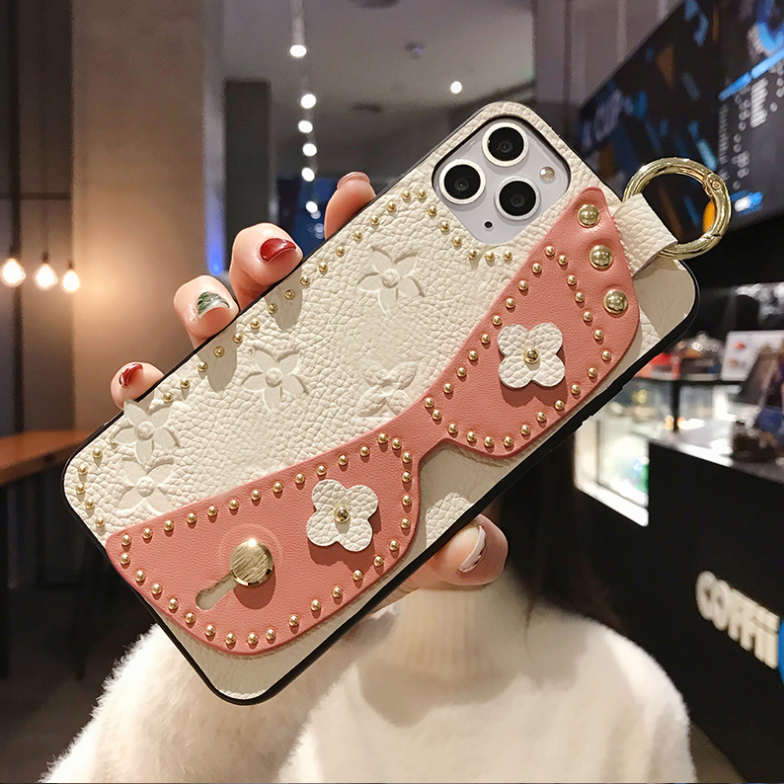 Eye Mask Pattern Rivet Leather iphone Case with Wrist Strap