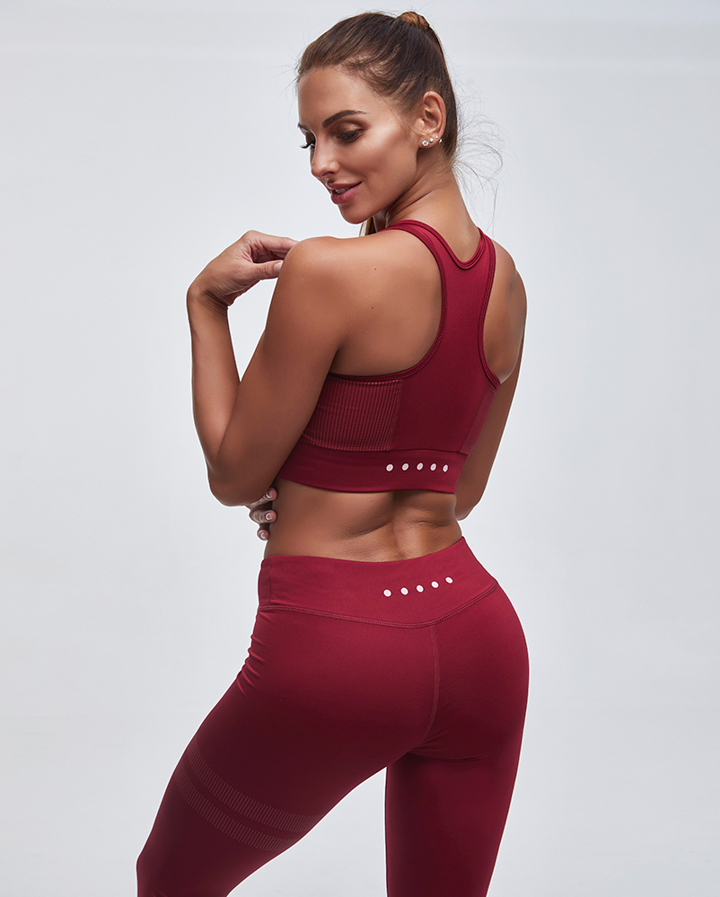 Striped Detail Breathable Sports Bra & High Waist Leggings Set