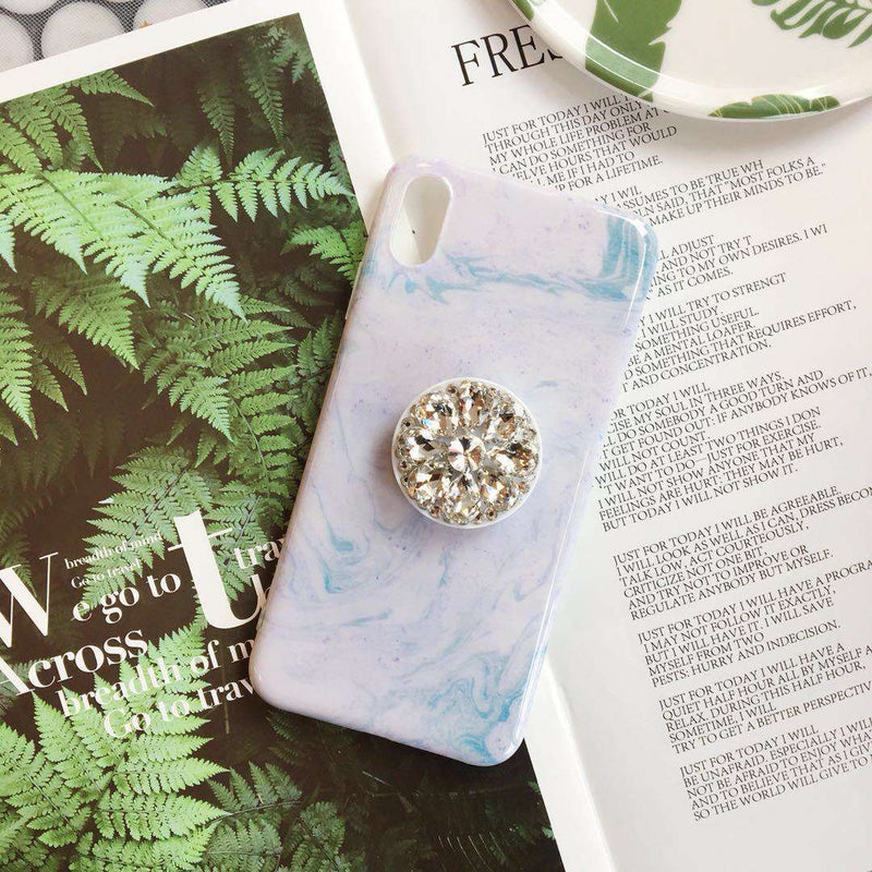 Literary Marble Pattern iPhone Case with Phone Holder
