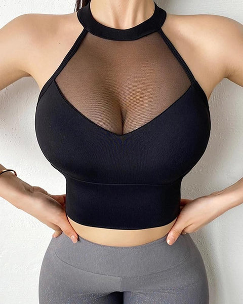 Mesh Insert Criss Cross Back Sports Bra