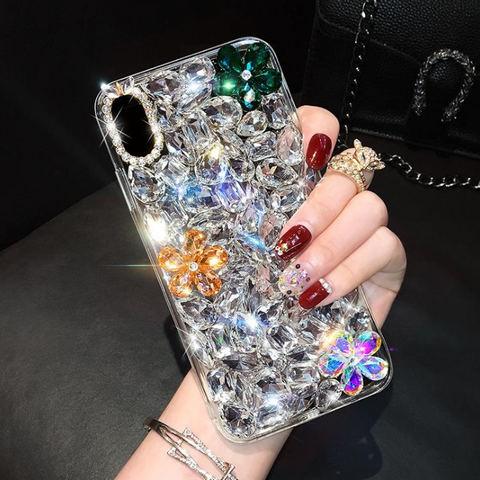 Glittering Floral Rhinestone Phone Case for Samsung gallery 6