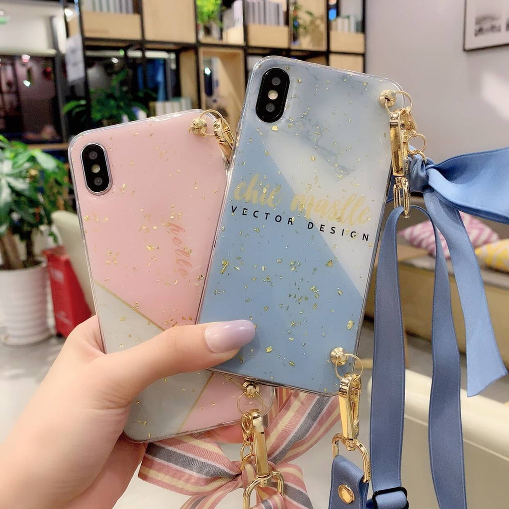 Color Block Bowknot Decorated iPhone Case with Hand Strap