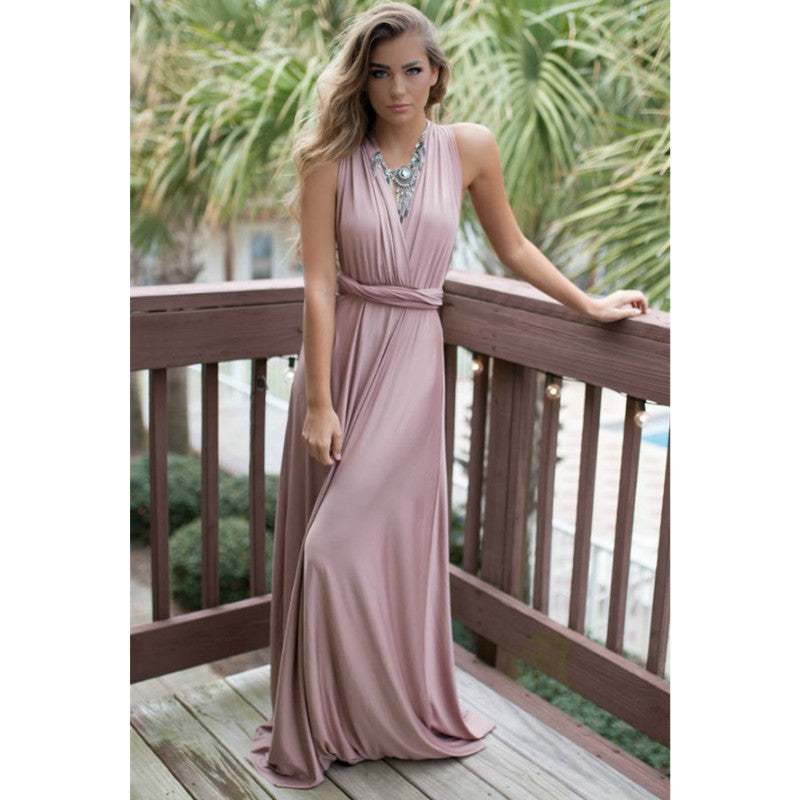 Multi Way Strap Wrap Satin Long Gown Dress