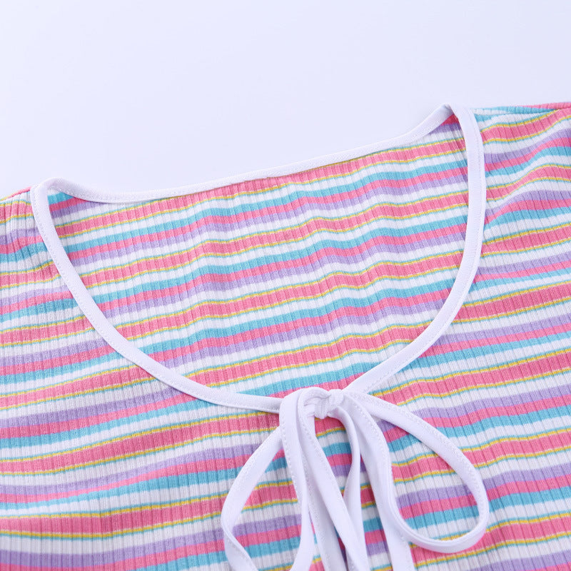 Ribbed Multicolored Stripe Tie Front Scoop Neck Crop Top