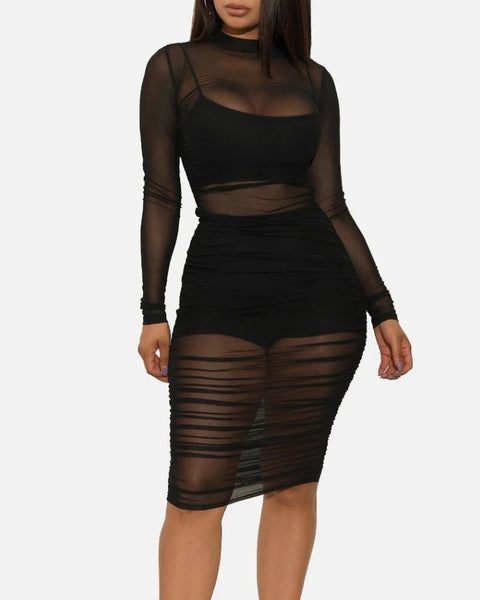 Sexy Mesh Sheer Ruched Lined Camisole & Shorts Bodycon Dress gallery 1