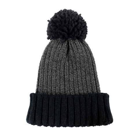 Pom Pom Decorated Knit Stitching Color Beanie Hat gallery 3