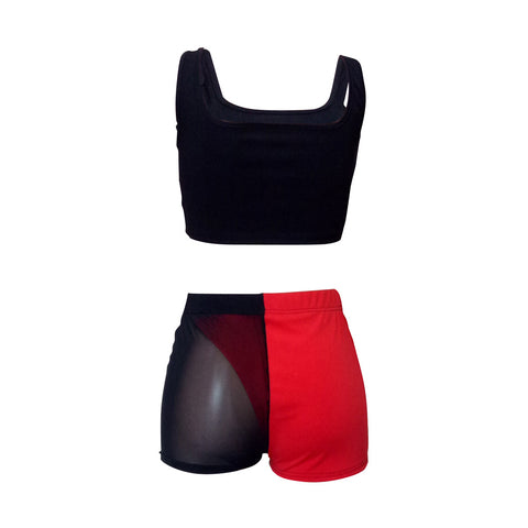 Square Neck Sleeveless Mesh Detail Cropped Top & Short Set gallery 7
