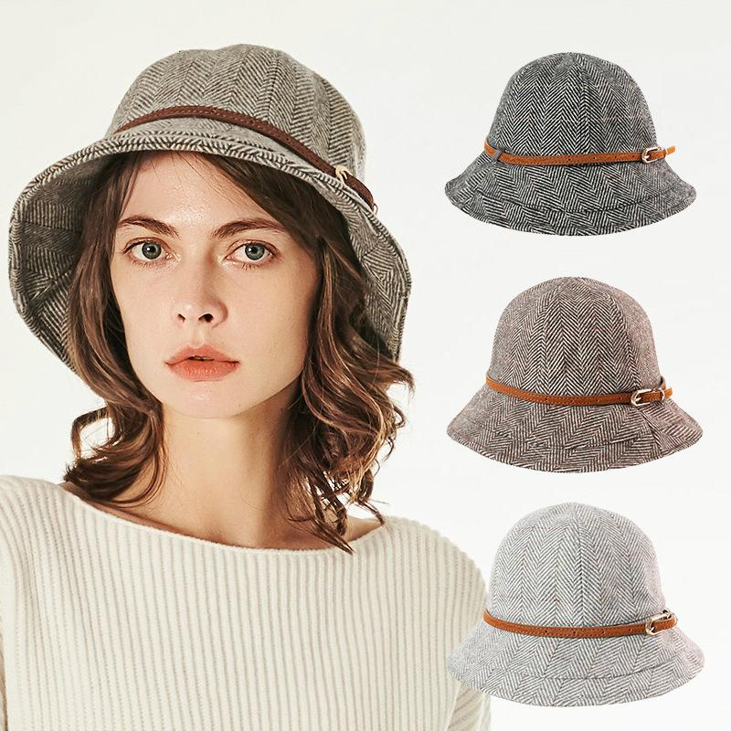 3 Colors Retro Belt Decor Cloche Hat