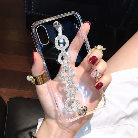 Rhinestone Clear Transparent Phone Case for Samsung with Hand Strap gallery 3