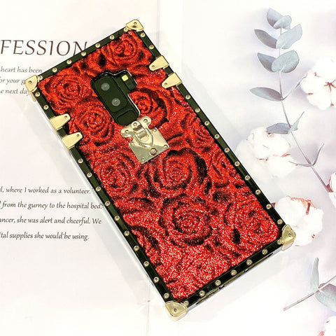Luxury Floral Print Phone Case for Samsung with Pom-pom
