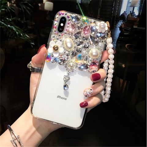 Half Transparent Rhinestone Phone Case for Samsung with Hand Strap gallery 2