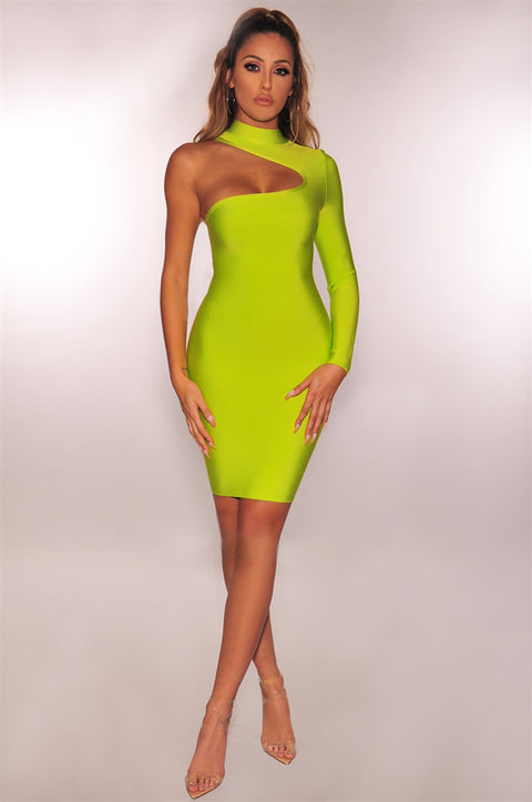 Bandage One Shoulder Cut Out Midi Dress gallery 4