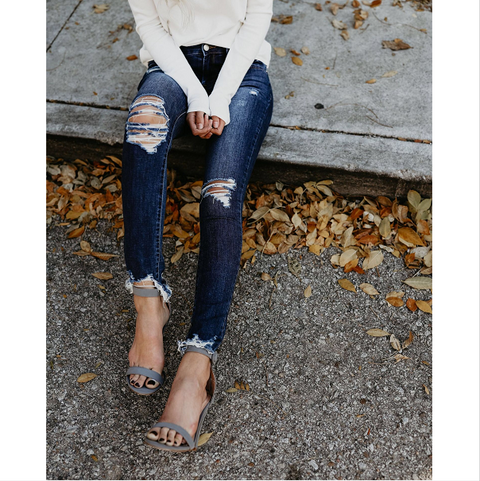 Medium Blue Wash Frayed Hem Blanched Jeans