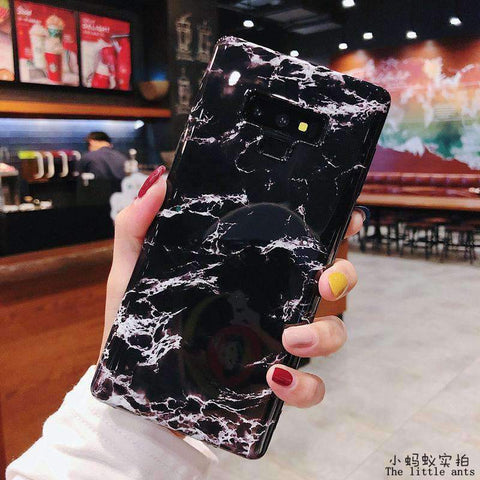 Anti-Fall Black&White Marble Phone Case for Samsung gallery 11
