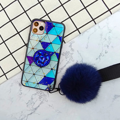 Prismatic Pattern Phone Cases With Rhinestone Ring Stand And Fluffy Pendant For All iPhone