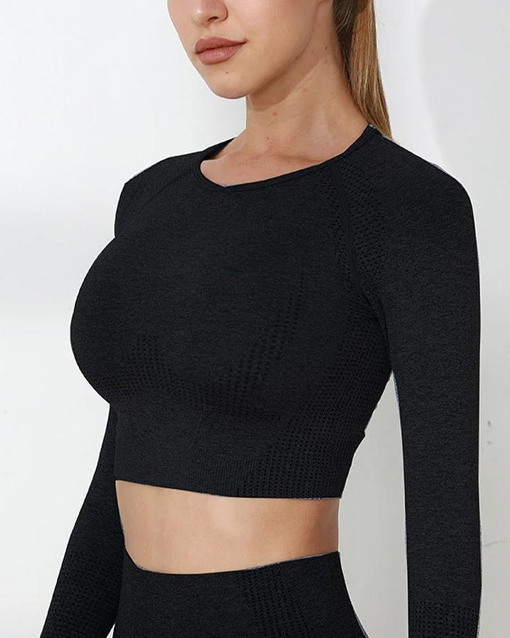 Seamless Long Sleeve Breathable Sports Crop Top gallery 5