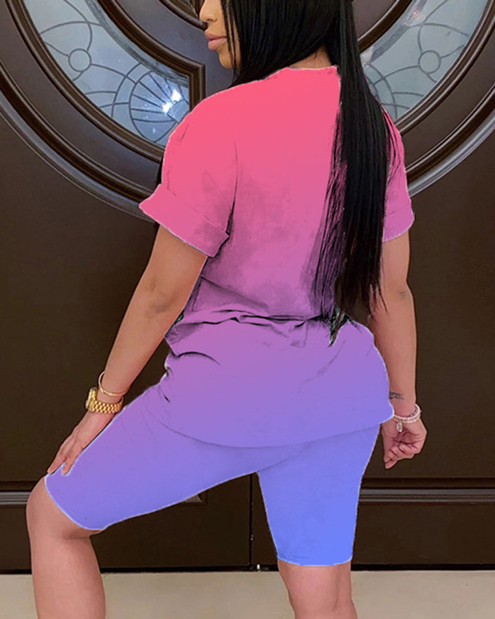 Ombre Short Sleeve Top & Shorts Set gallery 7