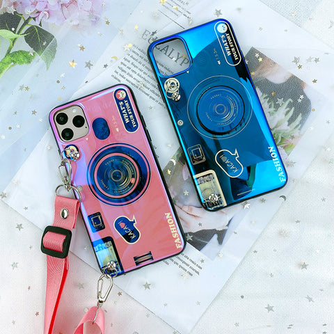 Retro Camera Pattern iPhone Case with Phone Holder and Hand Strap