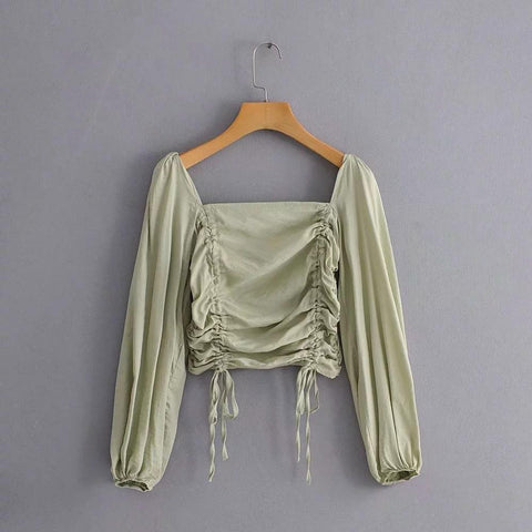 Drawstring Long Sleeve Ruched Square Collar Cropped Blouse gallery 5